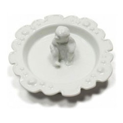 White Monkey Ring Dish - There's no need to wonder where you put your rings when you have this cute little monkey ring dish.