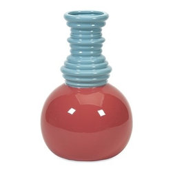 IMAX CORPORATION - Makayla Short Detailed Vase - Vivid color and a unique coiled neck make the Mikayla vase an uncommon delight in your decor. Find home furnishings, decor, and accessories from Posh Urban Furnishings. Beautiful, stylish furniture and decor that will brighten your home instantly. Shop modern, traditional, vintage, and world designs.