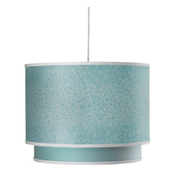 Oilo - Raindrops Double Cylinder, Aqua - The double drum shade takes a classic look to a whole new level. The solid interior shade is a beautiful contrast to the patterned exterior, and a sheet of white acrylic ensures a soft light will illuminate your space. And it comes with a 55-inch white cord so you can choose your desired height.