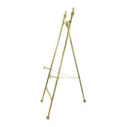 Antique Brass Floor Easel w/ Eagle Finials - Large antique brass floor easel for displaying art with cast-brass eagle finials and rosette-decorated adjustable support pieces. Chain for holding tripod legs in place at the distance of your choice.