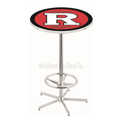 Holland Bar Stool - Holland Bar Stool L216 - 42 Inch Chrome Rutgers Pub Table - L216 - 42 Inch Chrome Rutgers Pub Table  belongs to College Collection by Holland Bar Stool Made for the ultimate sports fan, impress your buddies with this knockout from Holland Bar Stool. This L216 Rutgers table with retro inspried base provides a quality piece to for your Man Cave. You can't find a higher quality logo table on the market. The plating grade steel used to build the frame ensures it will withstand the abuse of the rowdiest of friends for years to come. The structure is triple chrome plated to ensure a rich, sleek, long lasting finish. If you're finishing your bar or game room, do it right with a table from Holland Bar Stool.  Pub Table (1)