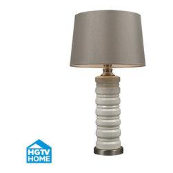 Dimond Lighting - Dimond Lighting HGTV131 Hgtv Home 1 Light Table Lamps in Ceram Crackle Ceramic W - Cream Crackle Ceramic Table Lamp With Brushed Steel Accents
