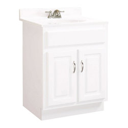 Design House - Concord 2 Door Vanity in White (Small) - Choose Size: SmallIncludes satin nickel hardware. Vanity top and faucet not included. Clean lines and concealed adjustable hinges. 0.5 in plywood sides. Cam-Lock connectors. Plenty of storage for toiletries to keep countertop free of clutter. Additional shelf inside cabinet for more storage. MDF square panel doors open with fluid motion. Easily fits into small bathroom. Strong corrosion resistant finish. CARB compliant. California 93120 compliant. Small: 24 in. W x 18 in. D x 30 in. H. Large: 30 in. W x 18 in. D x 30 in. H. Warranty. Assembly InstructionsPerfect for a relaxed country style home. Modern construction meshes with subtle vintage details for an elegant addition to your bathroom. This product is perfect for remodeling your bathroom and matches granite countertops and colored walls. This product attests to the quality of all Design House products, and integrates traditional curves with the amenities of industry leading features.