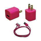 KHOMO Pink Color USB Power Adapter Charger And USB SYNC Cord Cable For Apple