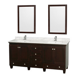 "Wyndham Collection - Wyndham Collection 72"" Acclaim Espresso Double Vanity w/ White Porcelain Sink - Sublimely linking traditional and modern design aesthetics, and part of the exclusive Wyndham Collection Designer Series by Christopher Grubb, the Acclaim Vanity is at home in almost every bathroom decor. This solid oak vanity blends the simple lines of traditional design with modern elements like square undermount sinks and brushed chrome hardware, resulting in a timeless piece of bathroom furniture. The Acclaim comes with a White Carrera or Ivory marble counter, porcelain, marble or granite sinks, and matching mirrors. Featuring soft close door hinges and drawer glides, you'll never hear a noisy door again! Meticulously finished with brushed chrome hardware, the attention to detail on this beautiful vanity is second to none and is sure to be envy of your friends and neighbors!"