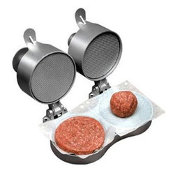 "Weston - Double Hamburger Press - Weston Double Burger Express. Simply place any ground meat on the patty forming tray, close the lid and press the patty presser button down to compact the meat into perfect patties of any thickness up to 1.5"". Spring plunger button compacts the patty then pops back for quick patty removal.  Non-stick coating.  Constructed of heavy-duty aluminum.  Adjustable patty thickness from .25"" to 1.5"" with a 4.5"" diameter.  Helps ensure that patties will not fall apart on the grill!"