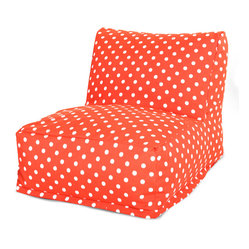 Outdoor Orange Ikat Dot Bean Bag Chair Lounger