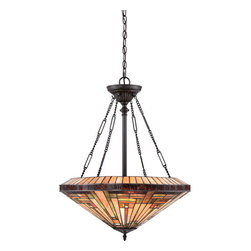 Quoizel - Stephen Dark Bronze with Light Bronze Four-Light Pendant - - This handcrafted Tiffany style collection illuminates your home with warm shades of amber, bisque and earthy green, arranged in a clean and simple geometric pattern reminiscent of the works of Frank Lloyd Wright. The sturdy base complements the Arts and Crafts style, and is finished in a Vintage Bronze.  - Cord Length: 8 Feet  - Chain Length: 48-Inch  - Bulb is not included Quoizel - TFST2822VB