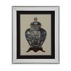 Bassett Mirror - Bassett Mirror Framed Under Glass Art, Blue Porcelain Vase I - Blue Porcelain Vase I