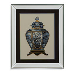 Bassett Mirror - Bassett Mirror Framed Under Glass Art, Blue Porcelain Vase I - Part I of the Blue Porcelain Vase series, this traditional framed piece illustrates the intricate and ornate detail that makes ancient pottery so revered. Beneath glass in a contemporary silver bevel-edged frame and surrounded by a thick black matte with a delicate outline, this elaborate blue and gold print will bring some of the nobility of ancient Chinese design into your home.