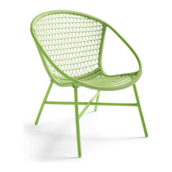 Grandin Road - Salsa Chair - Retro-styled hoop chair with a tight triangular weave pattern. Compact profile offers a comfortable sit, even without a cushion. Seat and back woven from all-weather resin wicker. Powdercoated aluminum frame. Available in a mouthwatering array of colors. Spice up your outdoor lounge with the Salsa Chair's smart proportions and designer-inspired form, all at a sensational value. This mid-century influenced outdoor hoop chair is crafted from lightweight and sturdy powdercoated aluminum and all-weather resin strips woven in a modern triangular pattern. Add one chair as an accent piece or gather a group on your porch or patio—then get ready to sit back in style all season long.  .  .  .  .  . Arrives fully assembled . Imported.