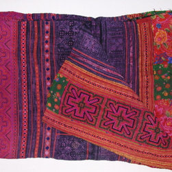 "Hmong Hilltribe patchwork and embroidered throw - Handwoven repurposed printed and embroidered cotton and hemp that is patchworked and sewn by Hmong Hilltribe villagers in Thailand. 100"" x75"". Made in Thailand. No two are identical. Each is a one-of-a-kind."