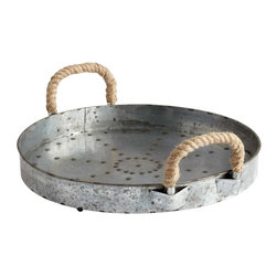 Cyan Design - Cyan Design Cyan Design Colonial Rope Handle Tray in Raw Steel - Cyan Design Colonial Rope Handle Tray in Raw Steel from Containers & Trays Collection