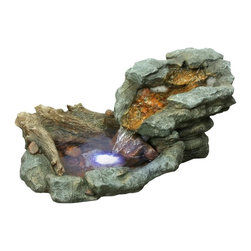 Alpine - Rock Waterfall Fountain with LED Lights - 20 inch - Features: