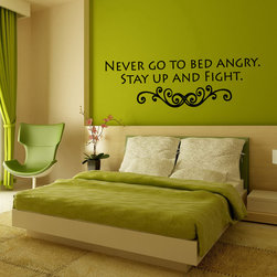 Wall Vinyl Sticker Decals Art Mural Never Go To Bed Angry Quote A1591 - Create your style. Stylize your world with vinyl stickers!
