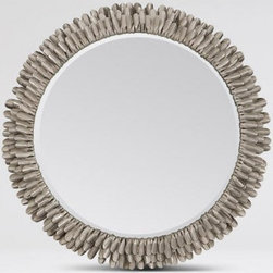 Adem Mirror | Pulp Home - This individually cut, molded and antiqued metal form, mirror creates a soft feathered texture. This mirror has been featured in spaces designed by Pulp Design Studios. FINISH: Tarnished Steel