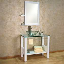 "34"" Rookwood Console Vanity with Glass Sink - This contemporary style console vanity features a sleek, open design with a glass countertop and sink. The stylish towel bar conveniently keeps dry towels within reach."