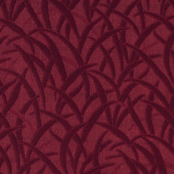 Burgundy Blades Of Grass Woven Matelasse Upholstery Grade Fabric By The Yard - This material is great for indoor upholstery applications. This Matelasse is rated heavy duty, and is upholstery weight. It is woven for enhanced appearance.