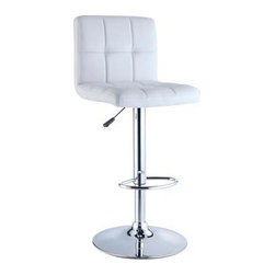 "Powell - Set Of 2 White Quilted Faux Leather & Chrome Adjustable Height Bar Stool - Set of 2 white Quilted faux leather & Chrome Adjustable Height Bar stool.  A stylish, faux leather quilted seat lends itself to the contemporary styling of this white bar stool. Finished with a round sturdy footrest and a gas-lift mechanism for convenient height adjusting, this piece combines function, comfort and style. 300 pound weight capacity. BIFMA 5.1 and EN1335 standard testing passed and approved.  Bar stool measures:  17-3/8"" x 19-5/8"" x 37-1/4"" - 43-3/8"" tall.  Some assembly required.  Material Content: white Quilted PU, faux leather & Chrome steel."