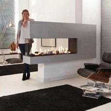 A nice looking double sided gas fireplace