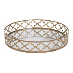 IMAX - Chelsey Geometric Mirror Tray - No need to fret, we've got the perfect mirrored metal tray, encircled by an airy geometric design in a matte gold finish.