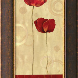 "Amanti Art - ""Pop Art Poppies I"" Framed Canvas by Daphne Brissonnet - Artist Daphne Brissonnet has created a contemporary artwork that celebrates the vivid red of summertime poppies and will look great with your decor, whether it's traditional or modern. This giclée print on 100 percent cotton canvas comes framed, with a hanging wire for easy installation, so you can enjoy it immediately. Made in the USA."
