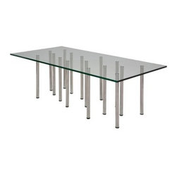 Nuevo Sonnet Rectangle Glass Top Coffee Table - Silver - Add a stunning centerpiece to your living room with the Nuevo Sonnet Rectangle Glass Top Coffee Table. This ultra-modern coffee table features an array of stainless steel pillars that hold up the 60L x 30W inch tempered glass tabletop. Adjustable feet allow you to customize this table to fit your needs – choose from available size options to find the perfect fit for your home.About NuevoOne of the most exciting contemporary design companies in the market, Nuevo has made a name for itself with its unique approach to professional-quality home furnishings. Creating pieces with a defined contemporary edge, Nuevo never fails to make a fashionable statement of the highest construction value.