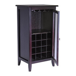 Winsome Wood - Winsome Wood Ryan 16-Bottle Wine Cabinet with Glass Hanger X-22529 - Wine Cabinet offers a great alternative in storing your favorite wines. 1 glass door opens to storage of stemware and up to 16 bottles.  Elegant and simple addition to your home. Assembly Required