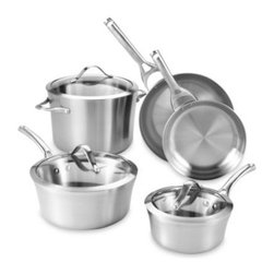 Calphalon - Calphalon Contemporary Stainless Steel 8-Piece Cookware Set - The Calphalon Contemporary Stainless Steel 8-pc. Cookware Set combines contemporary style with premium performance. It features an essential selection of pots and pans, each made from two layers of stainless steel surrounding a fast-heating aluminum core.