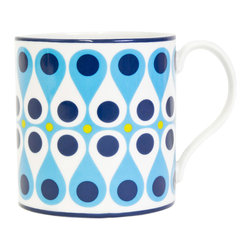 """Jonathan Adler - Jonathan Adler Carnaby Vertabrae Blue & Green Mug - Final Sale - The Jonathan Adler Carnaby Vertabrae coffee mug awakens table settings with mod style. Bold against white porcelain, contemporary blue and green swirls exude graphic flair. 4.5""""W x 3.5""""H; High-fired porcelain; Top rack dishwasher safe; Microwave safe"""