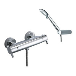 Ramon Soler - Thermostatic Wall Mounted Shower Mixer with Hand Shower Set - A wall hung contemporary 2 hole, double handle (small lever handle style) tub filler that is made in brass and finished with chrome.