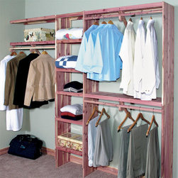 Deluxe Solid Cedar Closet Wall Kit - Instantly organize your walk-in closet with this beautiful Deluxe Solid Cedar Closet Wall Kit. This deluxe closet kit features solid panel shelves, a solid panel cubby kit and four hanging rods. Line your closet wall with tongue and groove cedar panels for a complete closet system. Wall lining kits sold separately.