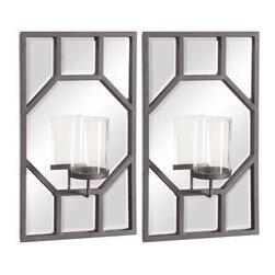Howard Elliott Octagonal Design with Glass Hurricane Candle Holders (Set of 2) - Titanium Metal Octagonal Design with Glass Hurricane (Set of 2).
