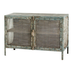 Arteriors Home - Finn Reticulate Cabinet - This versatile cabinet in rustic style will complement both dining and living area. The cabinet is made of iron in distressed finish. Aaccented with reticulate doors and sides that allow to see the inside of the cabinet.