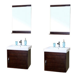 Bellaterra - 48.8 In Double Wall Mount Style Sink Vanity - Wood -  Walnut - Wall mount style vanity features with solid birch cabinet in rich walnut finish. Steel bracket in back for easy installation.48.8Wx19.5Dx23.6H * ** * Birch* Medium walnut* White Ceramic * White Ceramic Sink*Chrome finish hardware * Pre-drilled with 1 hole - One slot faucet, faucet and mirror not included* Slight assembly required. Dimensions: 48.8 in. x 19.5 in.