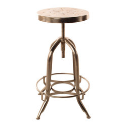 Kathy Kuo Home - Architect's Industrial Iron Nickel Counter Bar Swivel Stool - This architect's swivel stool is at once retro and industrial modern in design. The gleam of its nickel finish adds a cool, updated air to your urban loft's office or bar. Sturdy circular bands of iron create an eye-catching symmetrical base.