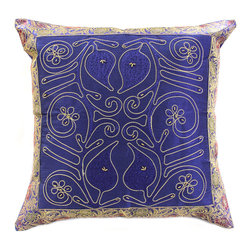 "Decorative Pillow Covers - ""Ornamental Embroidered"" Pillow Cover from Banarsi Designs (Set of 2). Shown in Blue color. Indian made."