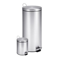 Honey Can Do - Dual Pack Stainless Steel Step Round Trash Ca - Set of 2. Sturdy construction for daily use. Steel foot pedals for hands-free operation. Plastic inner trash bucket for easy emptying and cleaning. Deep recessed lid, hides trash bags from view. Brushed stainless and hand print resistant exterior. Metal fold down carrying handle. Lifetime limited warranty. Made from steel and plastic. Stainless steel satin finish. No assembly required. 11.40 in. Dia. x 24.80 in. H (8 lbs.)