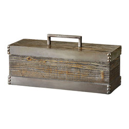 Lican Box - A light chestnut stain dances playfully across the natural wood Lican Box giving a serene feeling to this versatile and useful object. Framed in antique silver accents, this lovely box is easily adapted to many different styles of decor and is the perfect receptacle to store small trinkets or products. Perch it on a dresser or in a master bath for a beautiful way to add storage to a space.