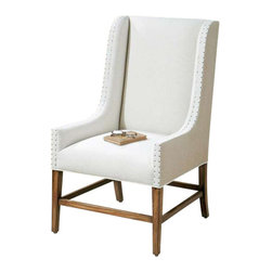 """Uttermost Dalma Linen Wing Chair - Traditional upholsterer's tacks edging the tan burlap and soft, neutral linen on the slim, track wing arms hint at exposing the essence of this time-honored, chippendale style classic.  Solid hardwood frame with sunwashed pine stretcher base. Traditional, upholsterer's tacks edging the tan burlap and soft, neutral linen on the slim, track wing arms hint at exposing the essence of this time-honored, chippendale style classic. Solid hardwood frame with sun-washed pine stretcher base. Seat height is 20""""."""