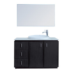 "Stufurhome - 48"" Brewster Single Sink Vanity with Faux Marble Top - Adds contemporary flair to any space"