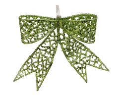 Silk Plants Direct - Silk Plants Direct Glitter Bow Ornament (Pack of 24) - Green - Silk Plants Direct specializes in manufacturing, design and supply of the most life-like, premium quality artificial plants, trees, flowers, arrangements, topiaries and containers for home, office and commercial use. Our Glitter Bow Ornament includes the following: