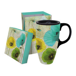 Cypress Home - Spring Floral 17-Oz. Travel Mug & Gift Box - Keep coffee or tea hot in this dishwasher-safe, ceramic travel mug featuring a delicate floral design.   Includes mug, lid and gift box 6.5'' H x 4.5'' diameter Holds 17 oz. Ceramic Dishwasher-safe Imported