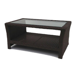 Wicker Paradise - Sanibel Wicker Cocktail Table With Glass - This richly dark and textured wicker cocktail table wonderfully compliments your outdoor wicker patio furniture collection. The rectangle table is inset with glass and features a bottom shelf for additional storage. The Sanibel cocktail is built on an aluminum frame for total outdoor use.