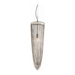 Arteriors - Worth Pendant - Illuminate your favorite setting in a whole new way. Fluid, graceful chains of polished nickel drape from a round cap to form a classic pendant shape — an elegant take on modern lighting.