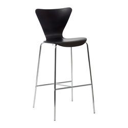 Eurostyle - Tendy-B Bar Chair (Set Of 2)-Wen/Chr - Enjoy ergonomic comfort at a higher level. This curvaceous bar stool provides leg and back support with its waterfall edge seat — all while looking ultrachic at the same time.