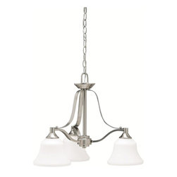 Builder - BUILDER Langford Transitional Chandelier X-IN1871 - This lovely chandelier provides a comfortable atmosphere to the space with the assistance of etched white glass shades. The Kichler Lighting Langford Transitional chandelier is crafted with excellent and classic design accentuated with brushed nickel finish. This transitional chandelier offers warm lighting with a soft, inviting glow.