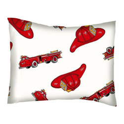 SheetWorld - SheetWorld Twin Pillow Case - Percale Pillow Case - Fire Engines - Made in USA - Twin pillow case. Made of an all cotton flannel fabric. Side Opening. Features the one and only fire engines!