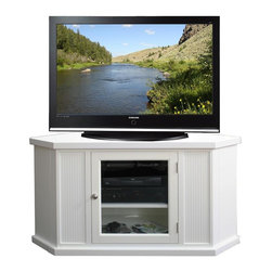Leick Furniture - 46 in. Corner TV Stand in White Finish - Hold's TV up to 50 in.. One adjustable component shelf behinds tempered glass doors. Perforated back for wire management. 240 lbs. bearing capacity. Made from hardwood solids and birch veneers. Assembly required. Distance from wall corner to front of stand: 33.5 in.. Front: 33 in. W. Back: 20.5 in. W. Component opening: 18 in. W x 17.38 in. H. Overall: 46.75 in. W x 20 in. D x 24.25 in. H (74 lbs.)