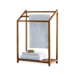 Teak Towel Rack - I love teak and think that adding teak into a bathroom creates a nice spa-like feel. This solid teak towel rack from Bed Bath & Beyond has an open design and a shelf for additional storage. At 34 inches tall and 23 inches wide, it also does not take up too much space in the bathroom.